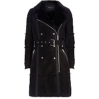 Black faux sheepskin coat