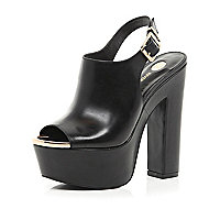 Black peep toe sling back platforms