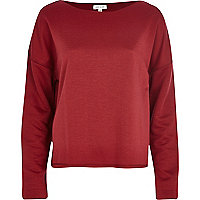 Dark red raw edge oversized sweatshirt