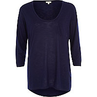 Dark blue low scoop t-shirt