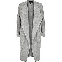Grey jersey long length jacket
