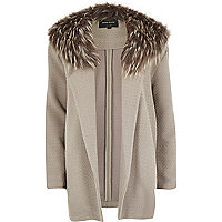 Grey faux fur collar textured jersey jacket