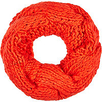 Red chunky cable knit snood