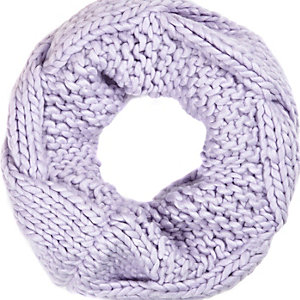 Lilac chunky cable knit snood