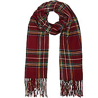 Dark red tartan blanket scarf