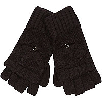 Black knitted mitten gloves