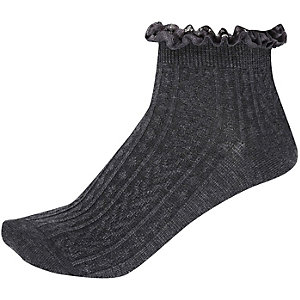 Grey frill trim ankle socks