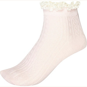 Pink cable knit frilly socks