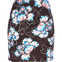Black floral print mini tube skirt