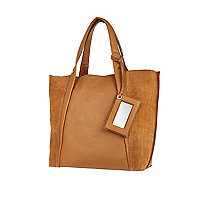 Tan leather croc panel tote bag
