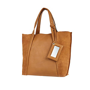 Tan leather croc panel tote handbag