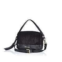 Black snake print leather cross body bag