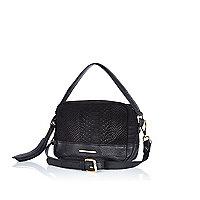 Black snake print leather cross body bag