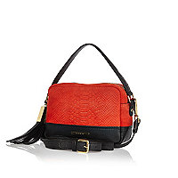 Red snake print leather cross body bag