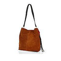 Red dual colour suede slouch bag