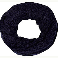 Navy blue loose knit snood