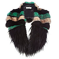 Black colour block faux fur collar