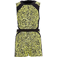 Lime jacquard colour block smart playsuit
