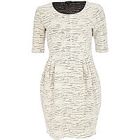 Cream textured tulip dress