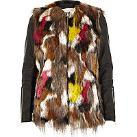 Multi faux fur leather-look sleeve jacket