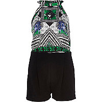 Green tribal print racer front playsuit