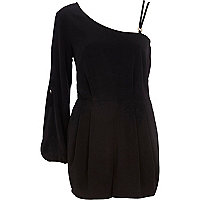 Black asymmetric smart playsuit