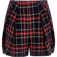 Navy tartan pleat front smart shorts