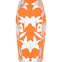 Orange foiled floral print pencil skirt