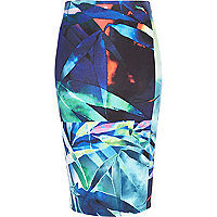 Blue palm leaf print pencil skirt