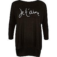 Black je t'aime print woven back jumper