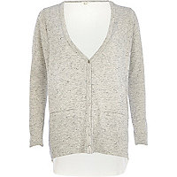 Grey woven back cardigan