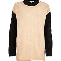 Beige colour block knitted tunic