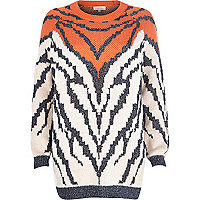 Orange metallic animal knit jumper