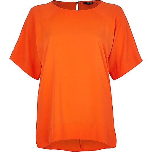 Orange oversized raglan sleeve t-shirt