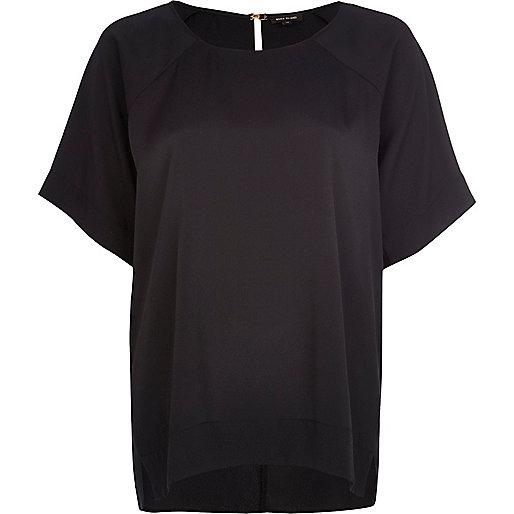 Black oversized slit back top
