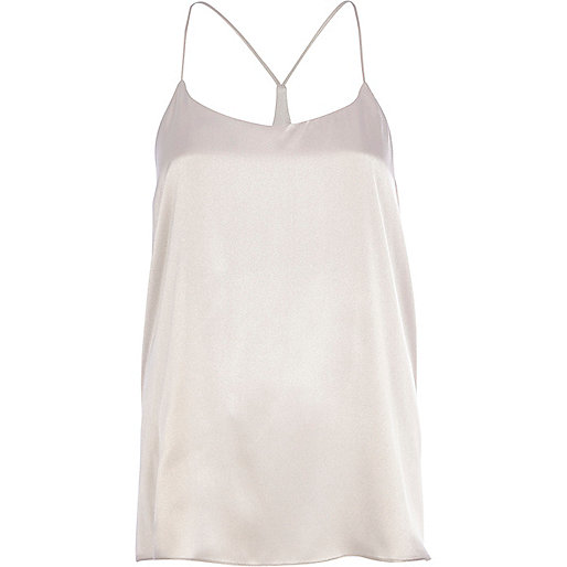Light grey silky longline cami top