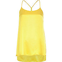 Yellow silky longline cami top