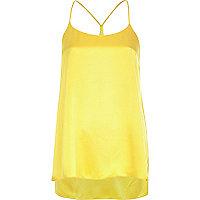 Yellow silky longline cami top