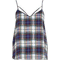 Blue tartan strappy cami top