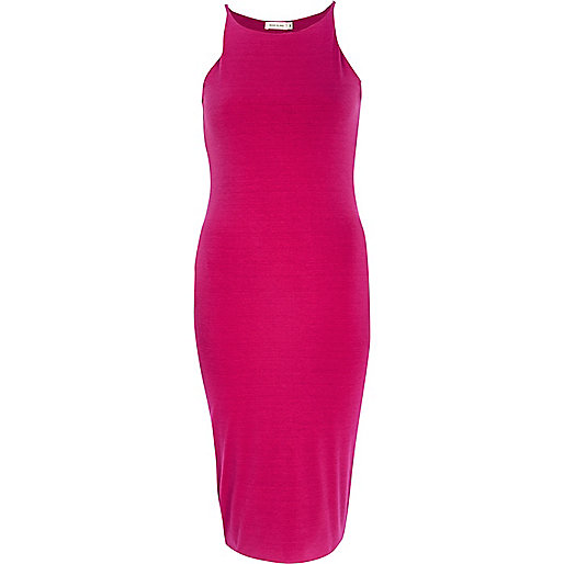 Pink racer front bodycon midi dress