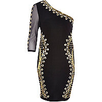 Black asymmetrical embellished bodycon dress