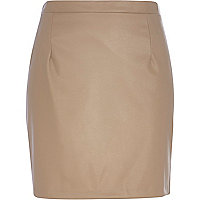 Light brown leather-look mini skirt