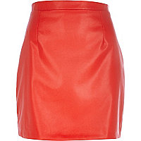 Red leather-look mini skirt