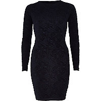 Navy textured twist back bodycon dress