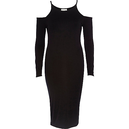 Black cold shoulder bodycon dress