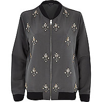 Khaki embellished bomber jacket