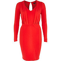 Red draped pencil dress