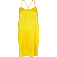 Dark yellow silky stepped hem slip dress