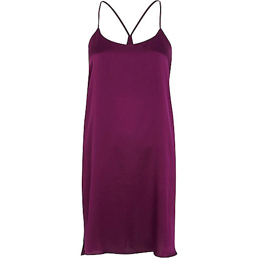 Purple silky stepped hem slip dress