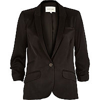 Black satin ruched sleeve blazer